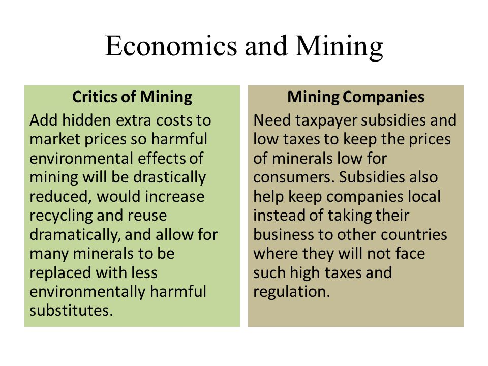 Economics and Mining Critics of Mining Add hidden extra costs to market prices so harmful environmental effects of mining will be drastically reduced,