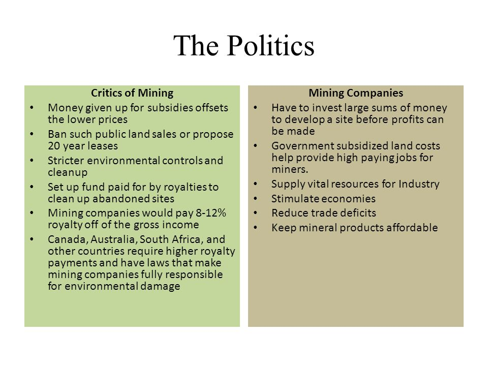 The Politics Critics of Mining Money given up for subsidies offsets the lower prices Ban such public land sales or propose 20 year leases Stricter env