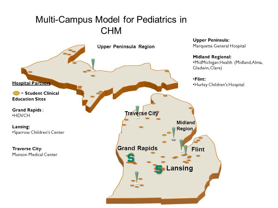 Multi-Campus Model for Pediatrics in CHM Upper Peninsula Region Traverse City Grand Rapids Lansing Flint Midland Region Hospital Partners = Student Cl