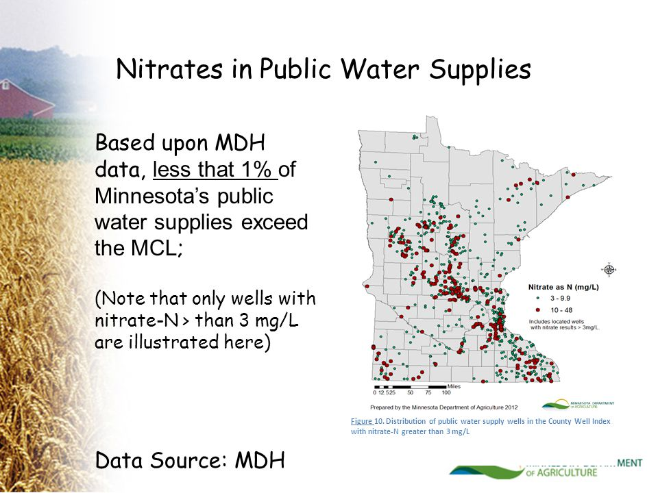 Based upon MDH data, less that 1% of Minnesota's public water supplies exceed the MCL ; (Note that only wells with nitrate-N > than 3 mg/L are illustrated here) Figure 10.