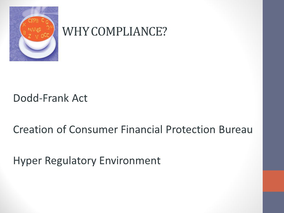 STATUTES & REGULATIONS Bank Secrecy Act/Anti-Money Laundering (FFIEC/OFAC) Equal Credit Opportunity Act (ECOA & Reg B) FACT Act Fair Credit Reporting Act (FCRA & Reg V) Fair Debt Collection Practices Act (FDCPA) Home Mortgage Disclosure Act (HMDA & Reg C) Home Owners Protection ACT (HOPA)