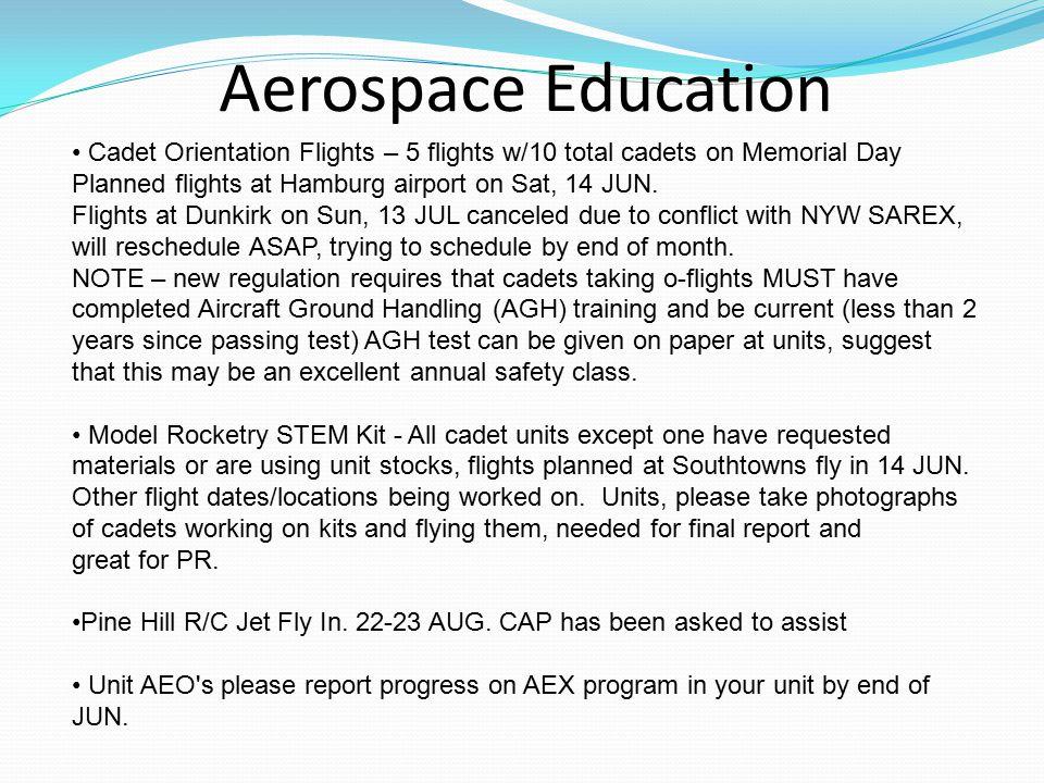 Aerospace Education Cadet Orientation Flights – 5 flights w/10 total cadets on Memorial Day Planned flights at Hamburg airport on Sat, 14 JUN.