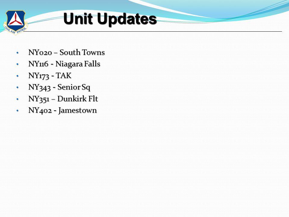 Unit Updates Unit Updates NY020 – South Towns NY020 – South Towns NY116 - Niagara Falls NY116 - Niagara Falls NY173 - TAK NY173 - TAK NY343 - Senior Sq NY343 - Senior Sq NY351 – Dunkirk Flt NY351 – Dunkirk Flt NY402 - Jamestown NY402 - Jamestown