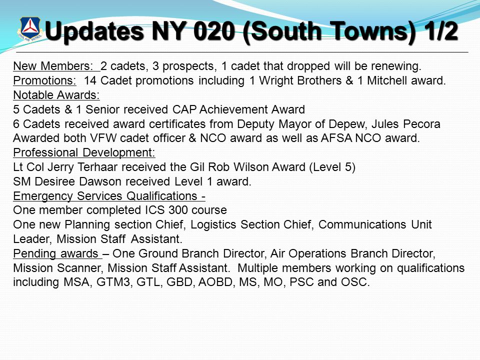 Updates NY 020 (South Towns) 1/2 Updates NY 020 (South Towns) 1/2 New Members: 2 cadets, 3 prospects, 1 cadet that dropped will be renewing.
