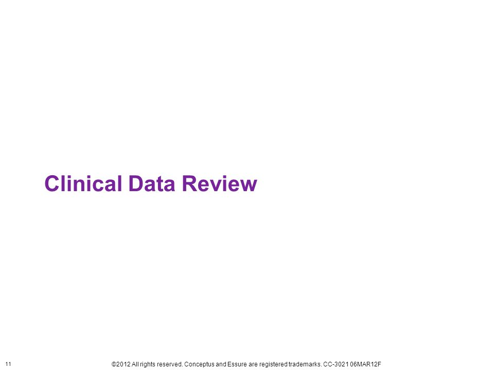 11 ©2012 All rights reserved. Conceptus and Essure are registered trademarks. CC-3021 06MAR12F Clinical Data Review