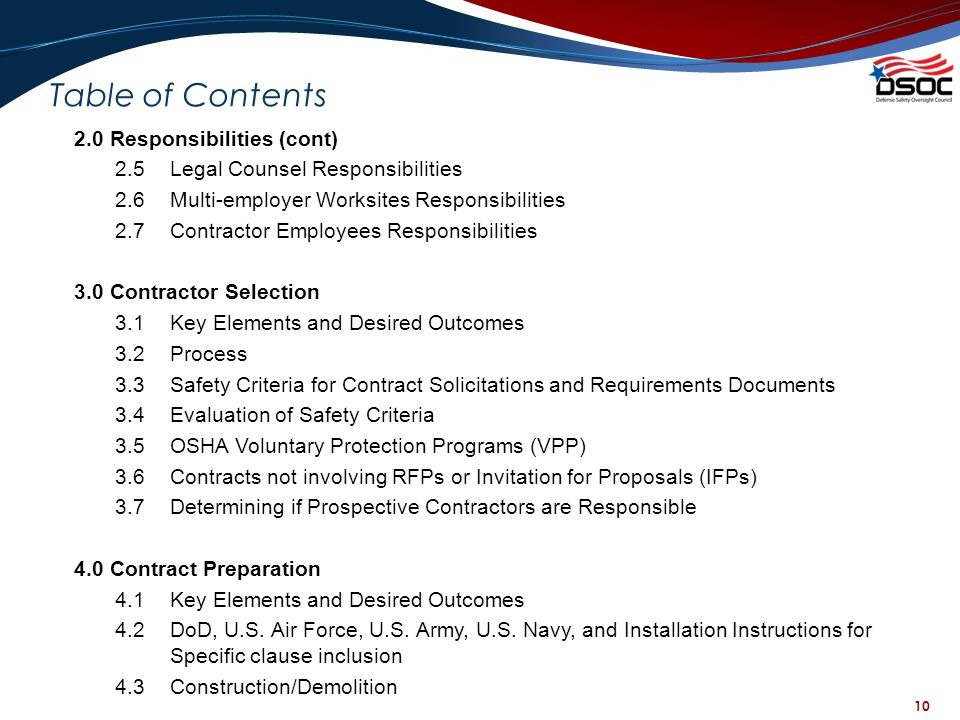 10 Table of Contents 2.0 Responsibilities (cont) 2.5Legal Counsel Responsibilities 2.6Multi-employer Worksites Responsibilities 2.7Contractor Employee