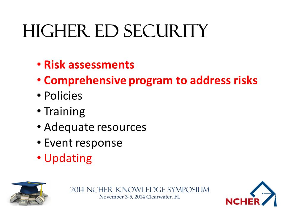 Higher Ed Security Risk assessments Comprehensive program to address risks Policies Training Adequate resources Event response Updating