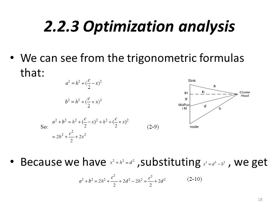 2.2.3 Optimization analysis We can see from the trigonometric formulas that: Because we have,substituting, we get 18