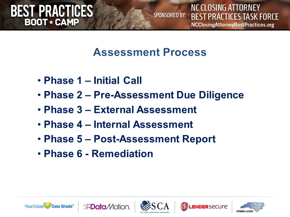 Phase 1 – Initial Call Phase 2 – Pre-Assessment Due Diligence Phase 3 – External Assessment Phase 4 – Internal Assessment Phase 5 – Post-Assessment Report Phase 6 - Remediation