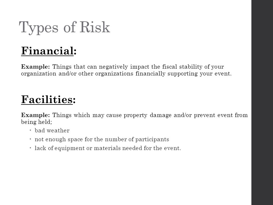 Types of Risk Information: Example: Personal information must be protected under various laws to protect individuals.