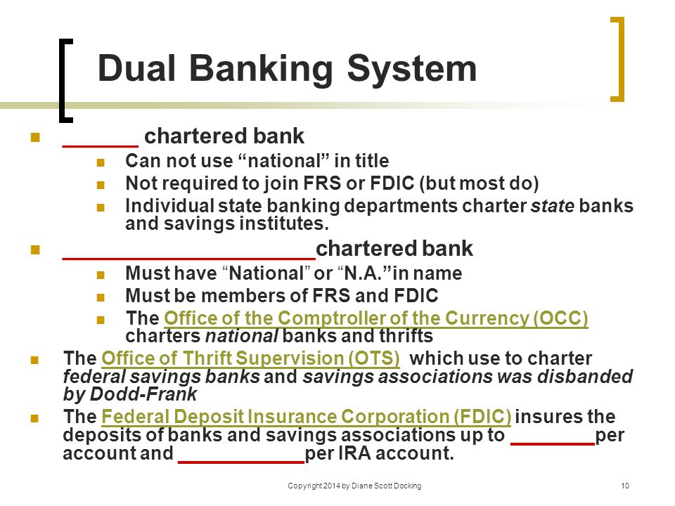 "Copyright 2014 by Diane Scott Docking10 Dual Banking System ______ chartered bank Can not use ""national"" in title Not required to join FRS or FDIC (bu"