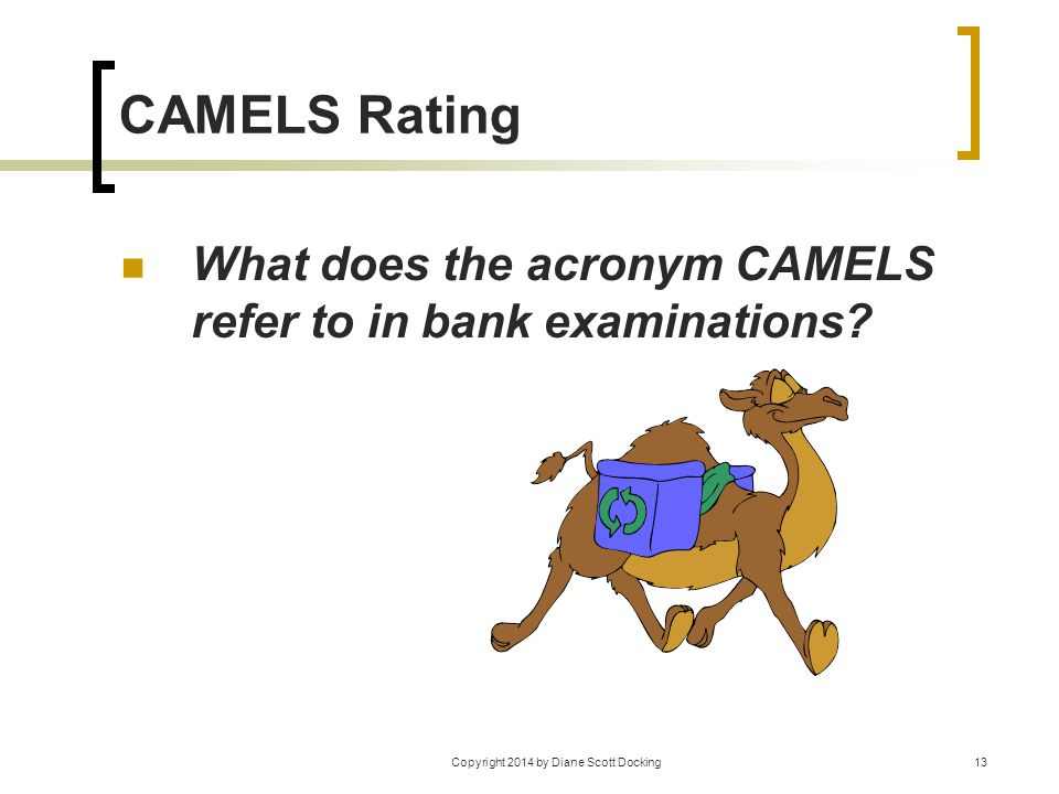 Copyright 2014 by Diane Scott Docking13 CAMELS Rating What does the acronym CAMELS refer to in bank examinations?