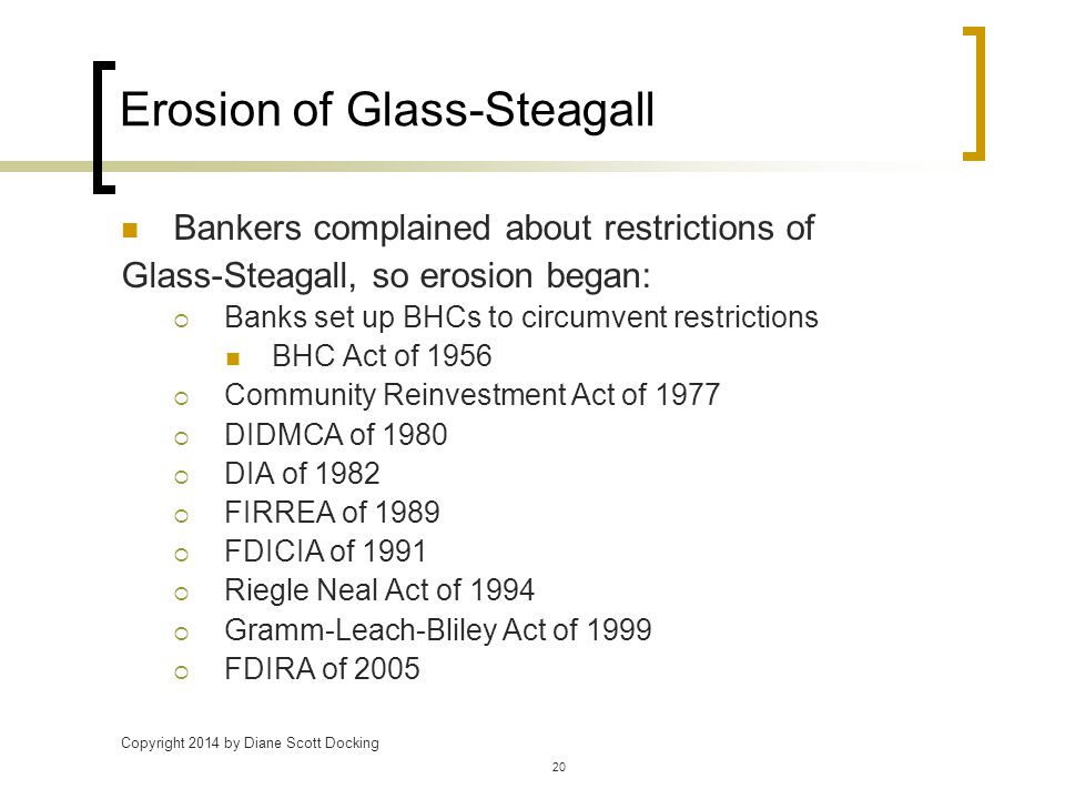 Copyright 2014 by Diane Scott Docking 20 Erosion of Glass-Steagall Bankers complained about restrictions of Glass-Steagall, so erosion began:  Banks