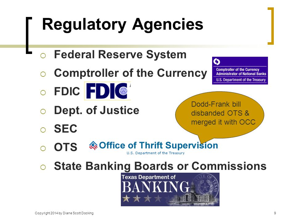 Copyright 2014 by Diane Scott Docking9 Regulatory Agencies  Federal Reserve System  Comptroller of the Currency  FDIC  Dept. of Justice  SEC  OT