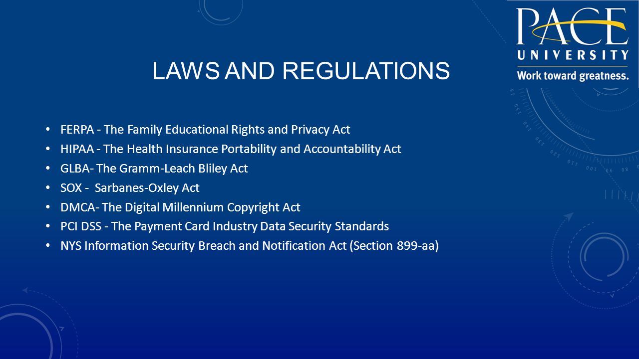 LAWS AND REGULATIONS FERPA - The Family Educational Rights and Privacy Act HIPAA - The Health Insurance Portability and Accountability Act GLBA- The Gramm-Leach Bliley Act SOX - Sarbanes-Oxley Act DMCA- The Digital Millennium Copyright Act PCI DSS - The Payment Card Industry Data Security Standards NYS Information Security Breach and Notification Act (Section 899-aa)
