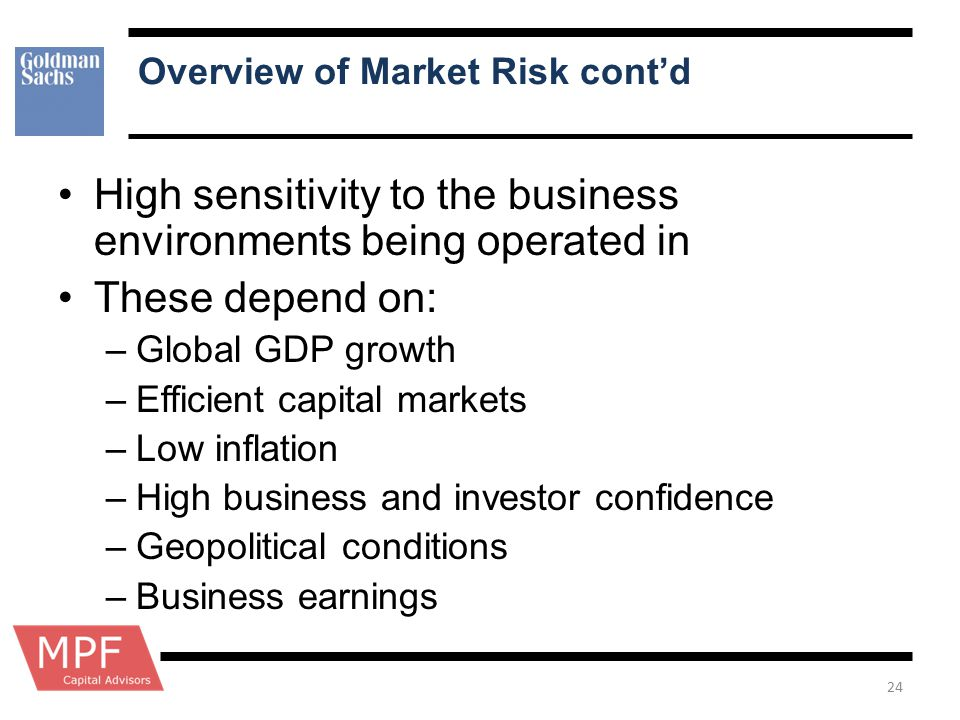 Overview of Market Risk cont'd High sensitivity to the business environments being operated in These depend on: –Global GDP growth –Efficient capital