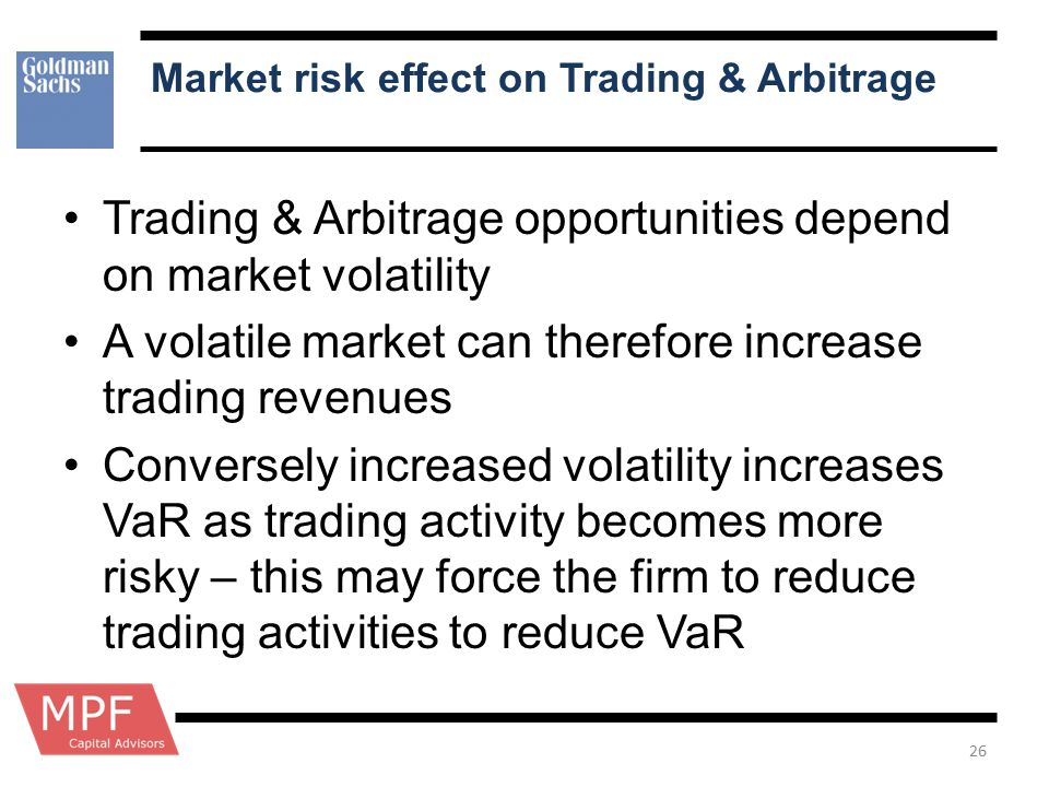 Market risk effect on Trading & Arbitrage Trading & Arbitrage opportunities depend on market volatility A volatile market can therefore increase tradi