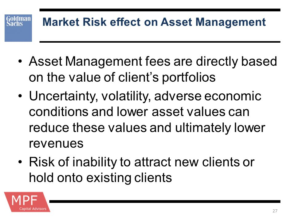 Market Risk effect on Asset Management Asset Management fees are directly based on the value of client's portfolios Uncertainty, volatility, adverse e