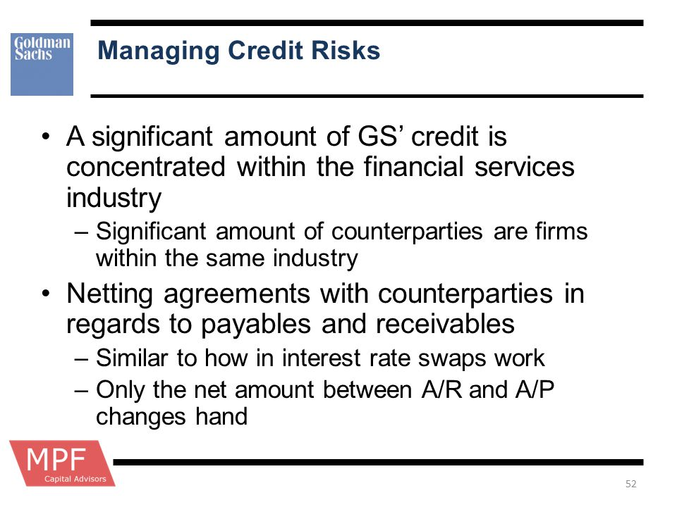 Managing Credit Risks A significant amount of GS' credit is concentrated within the financial services industry –Significant amount of counterparties