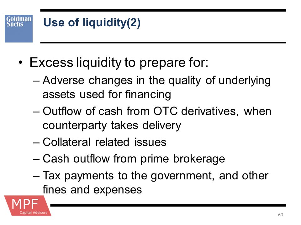 Use of liquidity(2) Excess liquidity to prepare for: –Adverse changes in the quality of underlying assets used for financing –Outflow of cash from OTC