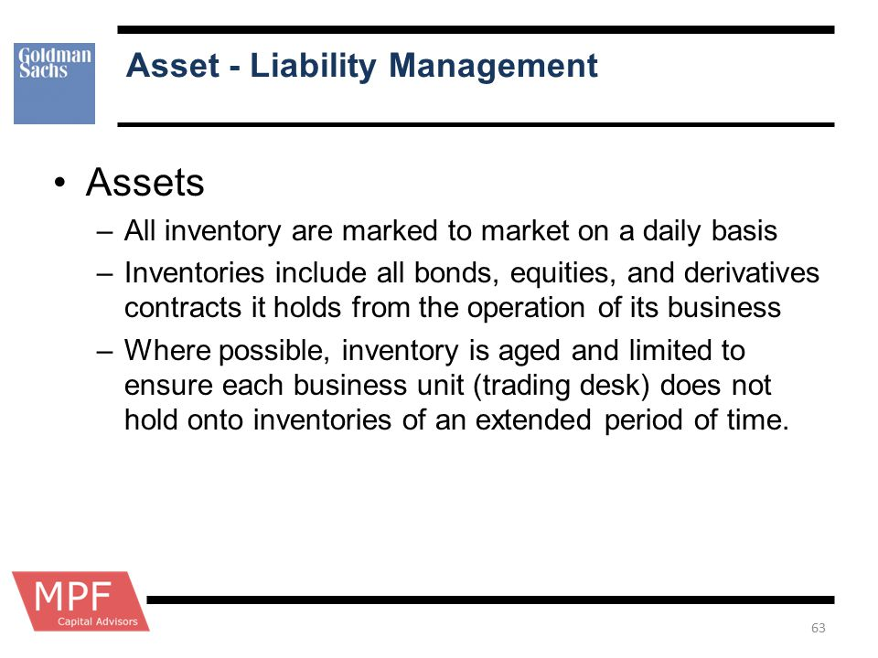 Asset - Liability Management Assets –All inventory are marked to market on a daily basis –Inventories include all bonds, equities, and derivatives con