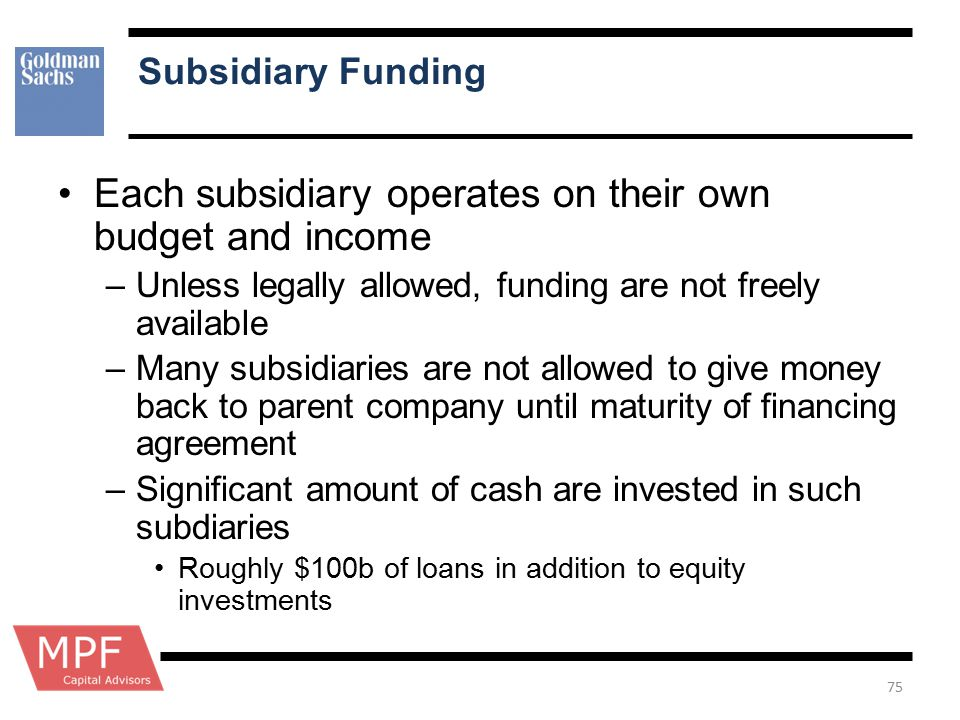 Subsidiary Funding Each subsidiary operates on their own budget and income –Unless legally allowed, funding are not freely available –Many subsidiarie