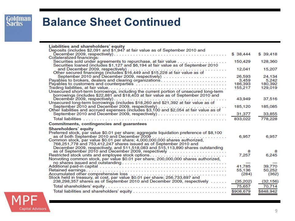 Balance Sheet Continued 9