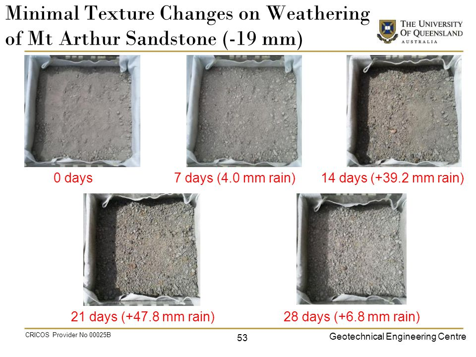 Geotechnical Engineering Centre CRICOS Provider No 00025B Minimal Texture Changes on Weathering of Mt Arthur Sandstone (-19 mm) 0 days 7 days (4.0 mm rain) 14 days (+39.2 mm rain) 28 days (+6.8 mm rain)21 days (+47.8 mm rain) 53