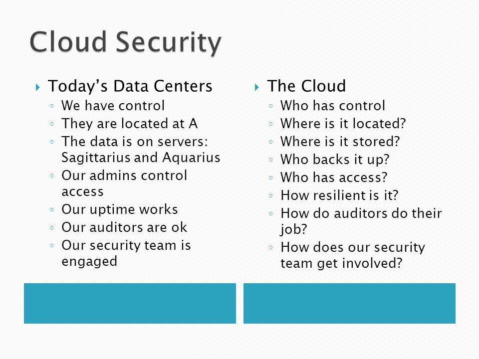  Today's Data Centers ◦ We have control ◦ They are located at A ◦ The data is on servers: Sagittarius and Aquarius ◦ Our admins control access ◦ Our uptime works ◦ Our auditors are ok ◦ Our security team is engaged  The Cloud ◦ Who has control ◦ Where is it located.