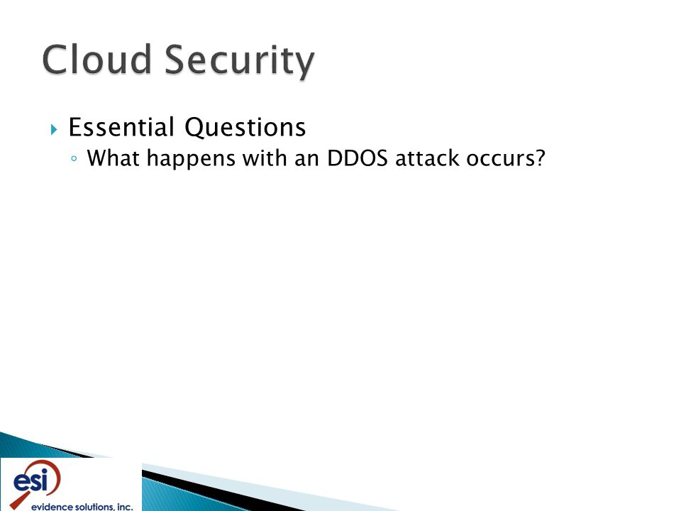  Essential Questions ◦ What happens with an DDOS attack occurs
