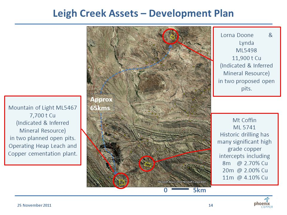 25 November 201114 Leigh Creek Assets – Development Plan Lorna Doone & Lynda ML5498 11,900 t Cu (Indicated & Inferred Mineral Resource) in two proposed open pits.