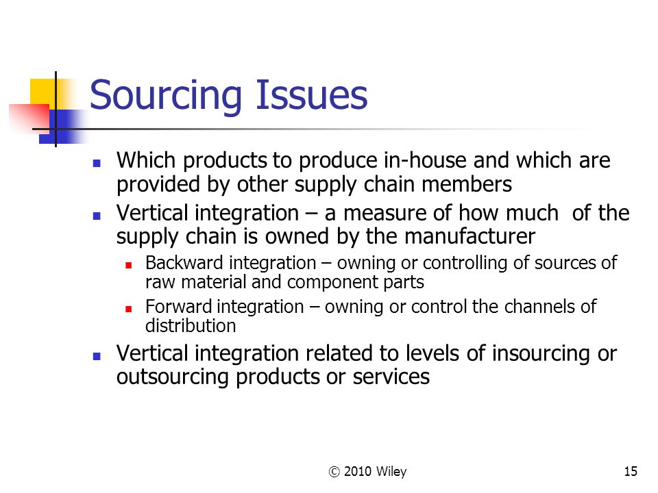 © 2010 Wiley15 Sourcing Issues Which products to produce in-house and which are provided by other supply chain members Vertical integration – a measur