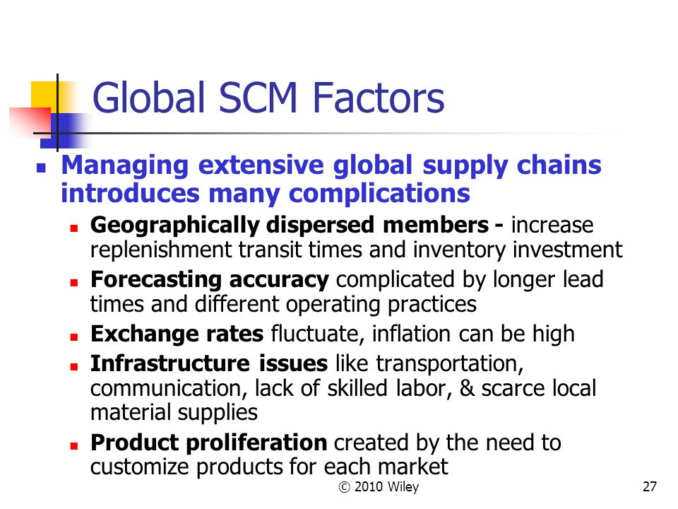 © 2010 Wiley27 Global SCM Factors Managing extensive global supply chains introduces many complications Geographically dispersed members - increase re