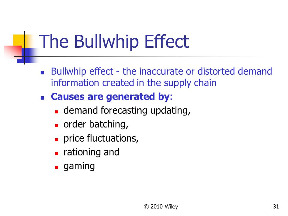 © 2010 Wiley31 The Bullwhip Effect Bullwhip effect - the inaccurate or distorted demand information created in the supply chain Causes are generated b