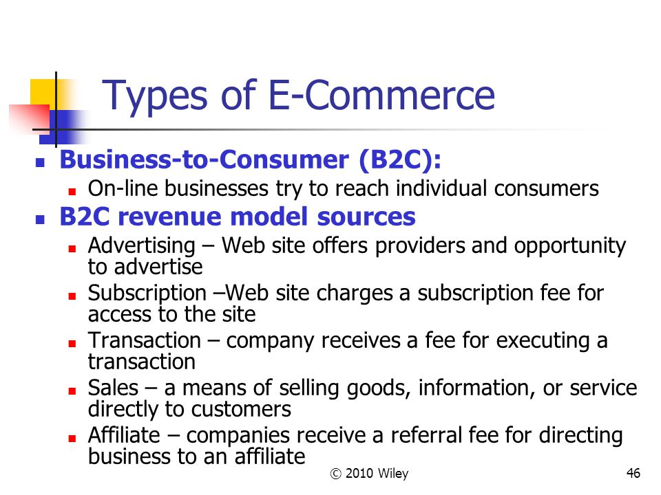 © 2010 Wiley46 Types of E-Commerce Business-to-Consumer (B2C): On-line businesses try to reach individual consumers B2C revenue model sources Advertis