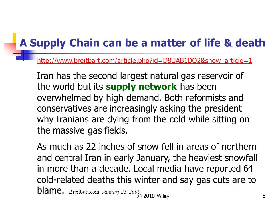 © 2010 Wiley5 A Supply Chain can be a matter of life & death http://www.breitbart.com/article.php?id=D8UAB1DO2&show_article=1 Iran has the second larg