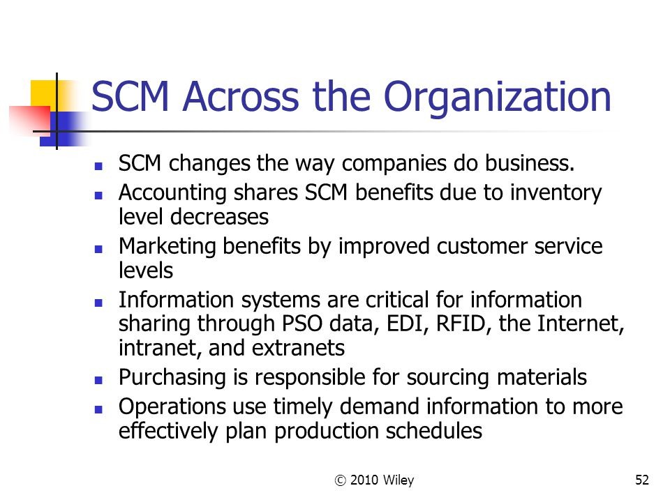 © 2010 Wiley52 SCM Across the Organization SCM changes the way companies do business. Accounting shares SCM benefits due to inventory level decreases