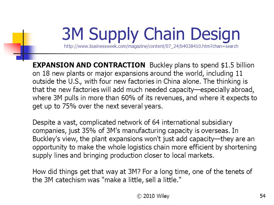 © 2010 Wiley54 3M Supply Chain Design http://www.businessweek.com/magazine/content/07_24/b4038410.htm?chan=search EXPANSION AND CONTRACTION Buckley pl