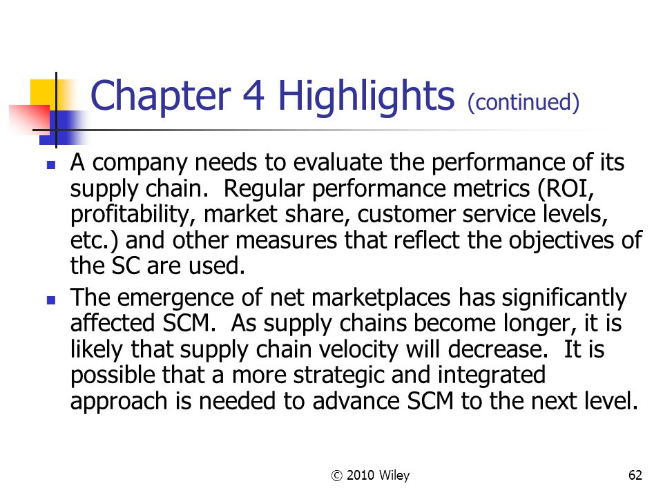 © 2010 Wiley62 Chapter 4 Highlights (continued) A company needs to evaluate the performance of its supply chain. Regular performance metrics (ROI, pro