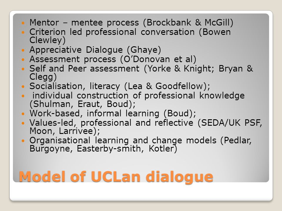 Model of UCLan dialogue Mentor – mentee process (Brockbank & McGill) Criterion led professional conversation (Bowen Clewley) Appreciative Dialogue (Ghaye) Assessment process (O'Donovan et al) Self and Peer assessment (Yorke & Knight; Bryan & Clegg) Socialisation, literacy (Lea & Goodfellow); individual construction of professional knowledge (Shulman, Eraut, Boud); Work-based, informal learning (Boud); Values-led, professional and reflective (SEDA/UK PSF, Moon, Larrivee); Organisational learning and change models (Pedlar, Burgoyne, Easterby-smith, Kotler)