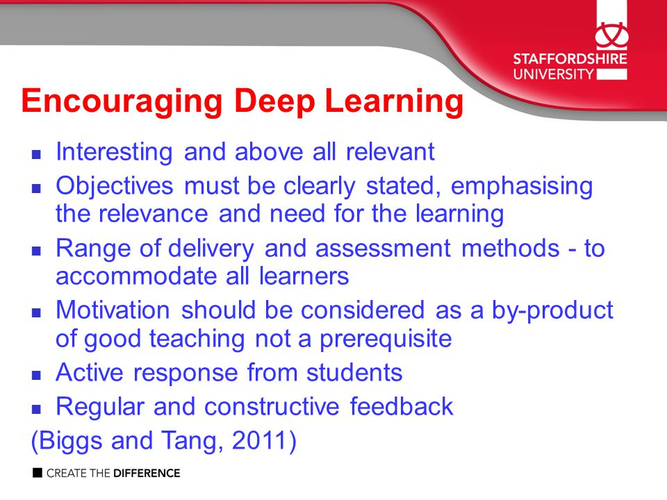 Encouraging Deep Learning Interesting and above all relevant Objectives must be clearly stated, emphasising the relevance and need for the learning Range of delivery and assessment methods - to accommodate all learners Motivation should be considered as a by-product of good teaching not a prerequisite Active response from students Regular and constructive feedback (Biggs and Tang, 2011)