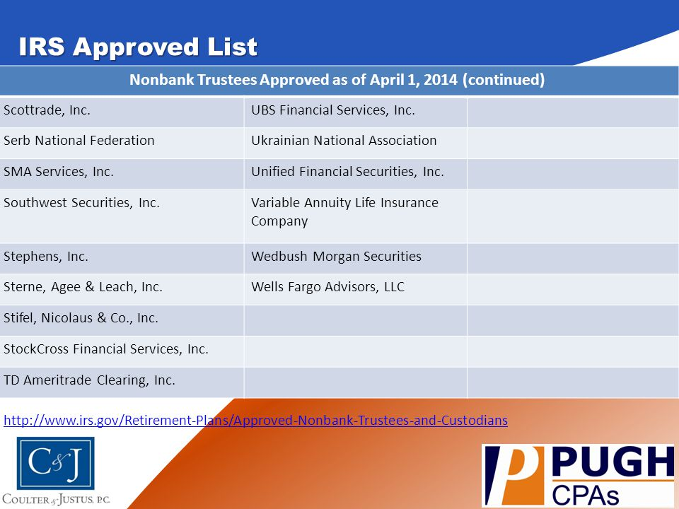 IRS Approved List http://www.irs.gov/Retirement-Plans/Approved-Nonbank-Trustees-and-Custodians SUB HEADING ONE Here is where you will type your slide.