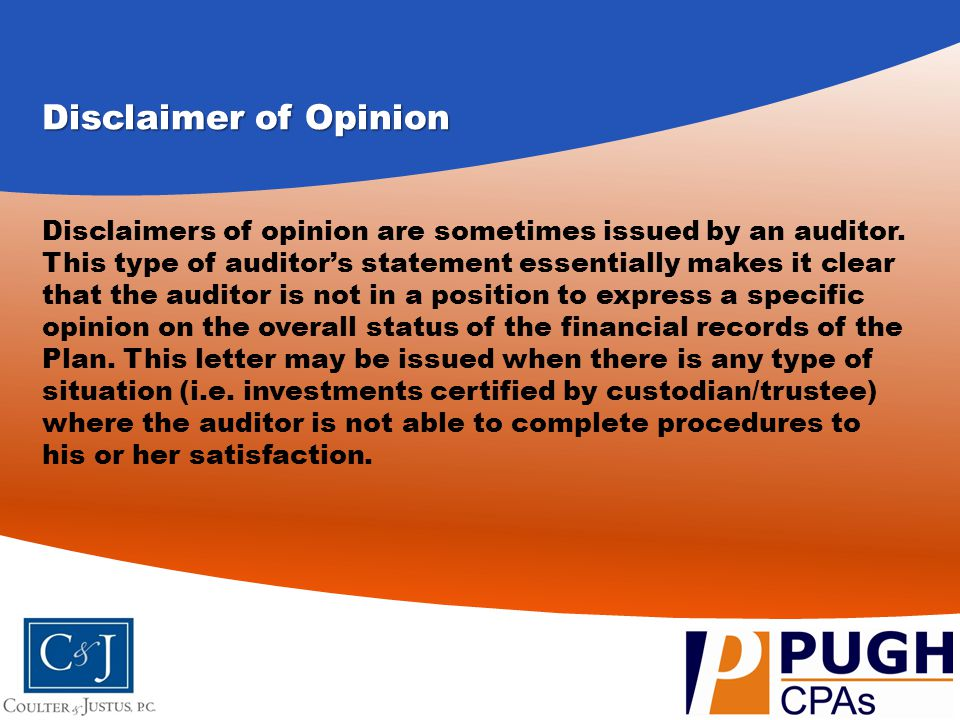 Disclaimer of Opinion Disclaimers of opinion are sometimes issued by an auditor. This type of auditor's statement essentially makes it clear that the
