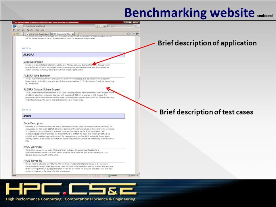 Benchmarking website continued Brief description of application Brief description of test cases