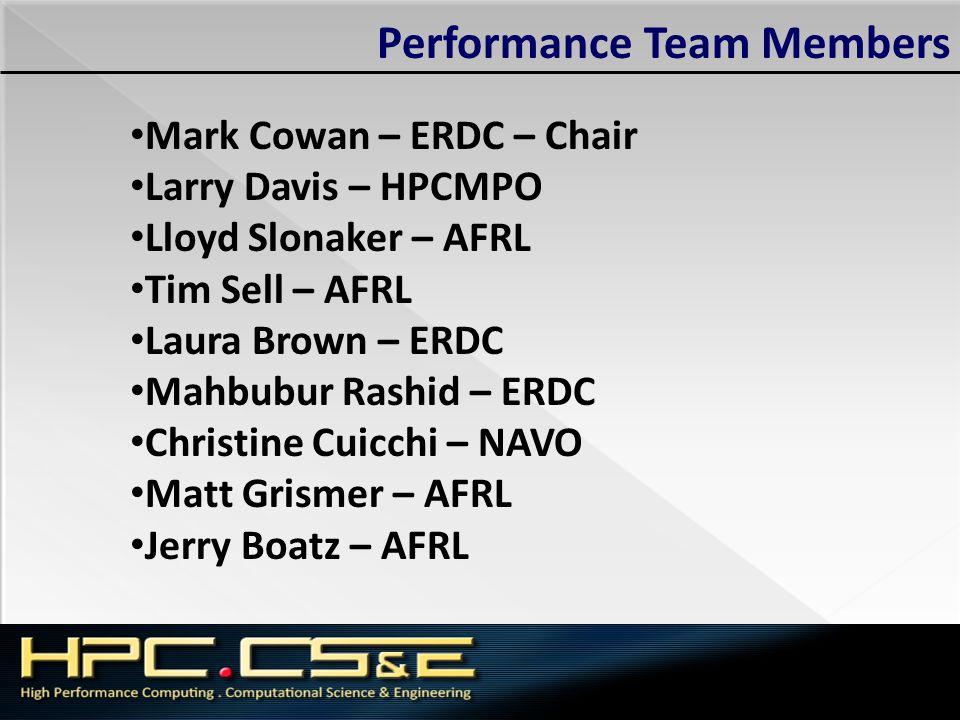 Performance Team Members Mark Cowan – ERDC – Chair Larry Davis – HPCMPO Lloyd Slonaker – AFRL Tim Sell – AFRL Laura Brown – ERDC Mahbubur Rashid – ERD