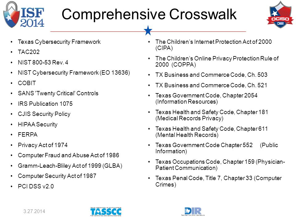 Comprehensive Crosswalk Texas Cybersecurity Framework TAC202 NIST 800-53 Rev.