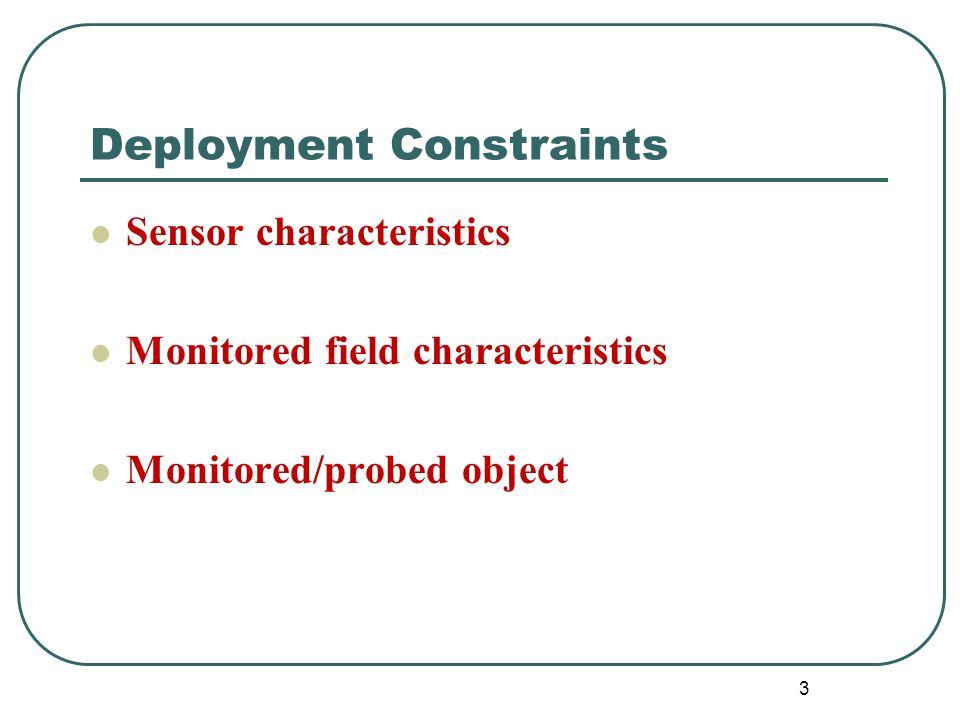 34 Sequential Packing-based Deployment Algorithm (SPDA) Given Sensors Sensing Ranges Sensors Communication Ranges Bounded Monitored Field Objective Best Connected Deployment Scheme Max.