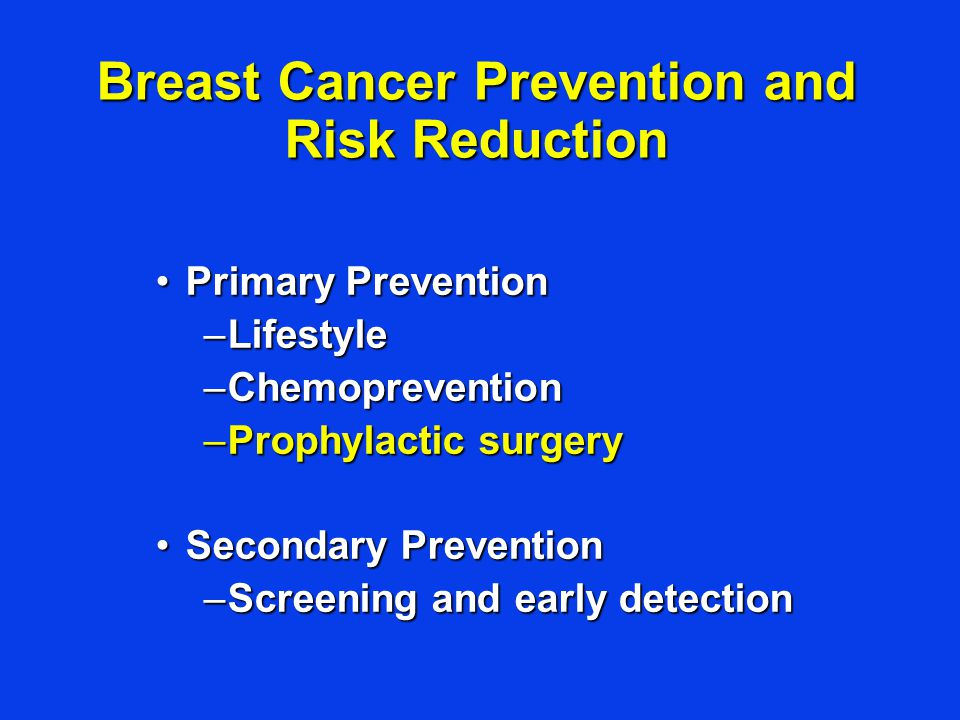 Primary PreventionPrimary Prevention –Lifestyle –Chemoprevention –Prophylactic surgery Secondary PreventionSecondary Prevention –Screening and early detection Breast Cancer Prevention and Risk Reduction