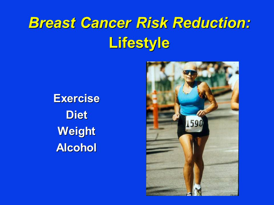 Breast Cancer Risk Reduction: Lifestyle ExerciseDietWeightAlcohol