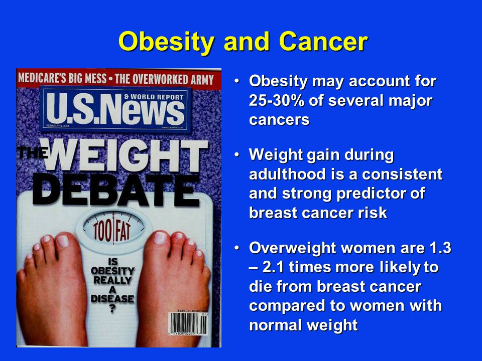 Obesity may account for 25-30% of several major cancersObesity may account for 25-30% of several major cancers Weight gain during adulthood is a consistent and strong predictor of breast cancer riskWeight gain during adulthood is a consistent and strong predictor of breast cancer risk Overweight women are 1.3 – 2.1 times more likely to die from breast cancer compared to women with normal weightOverweight women are 1.3 – 2.1 times more likely to die from breast cancer compared to women with normal weight Obesity and Cancer